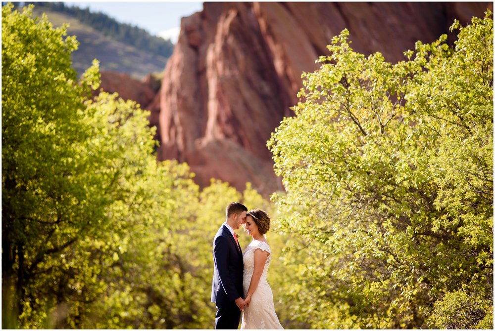 wedding couple at Roxborough State Park at sunset