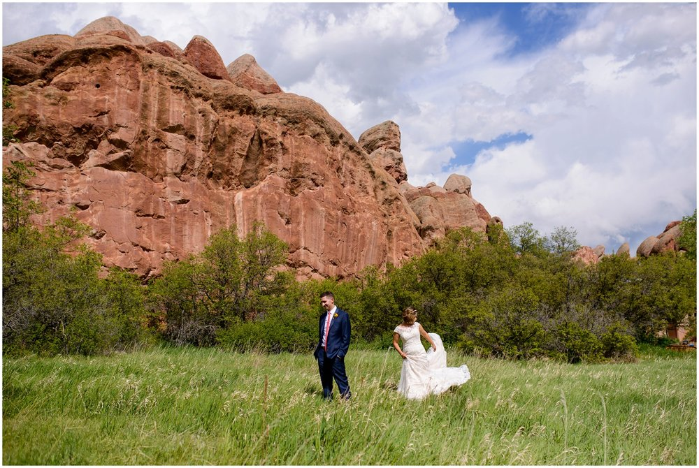 bride and groom first look near Red Rocks