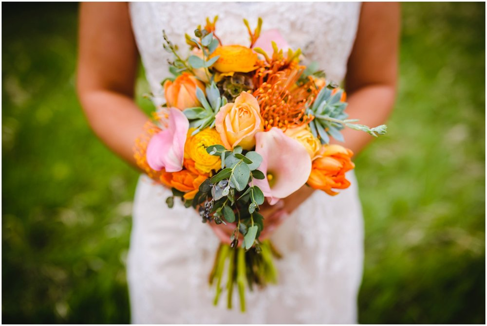 orange and pink wedding bouquet