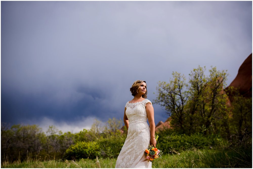 Colorado bride in front of stormy skies