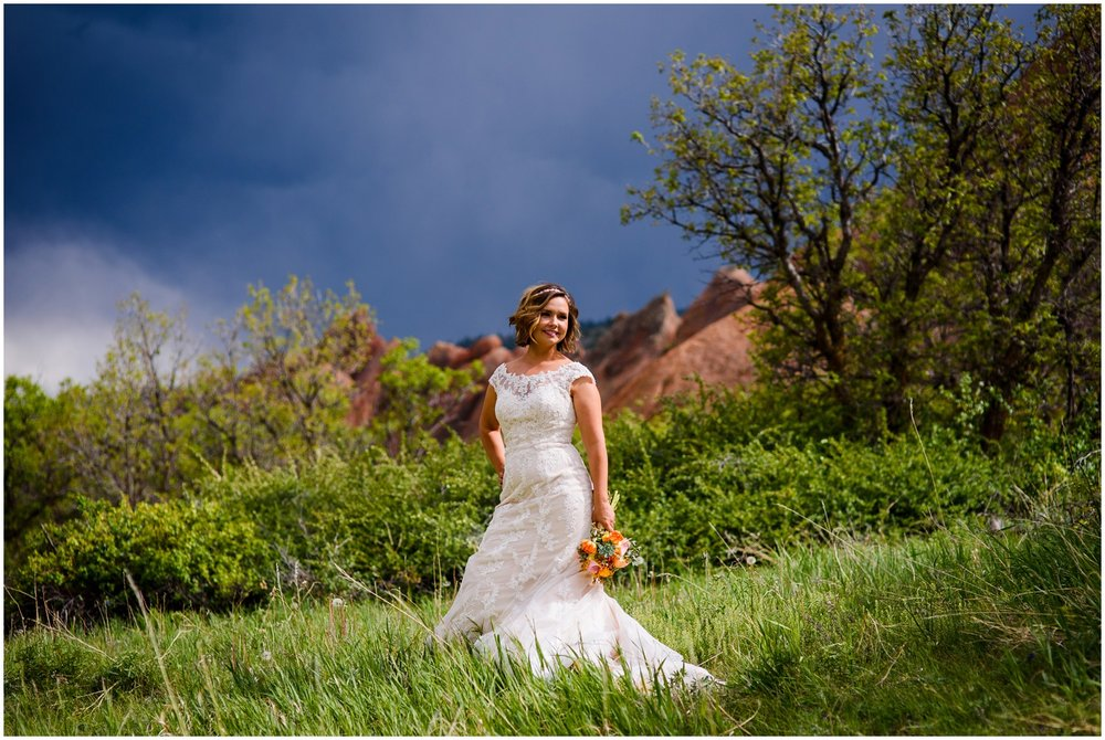Bride poses at Roxborough state park