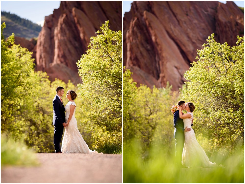 wedding couple pose at Roxborough State Park