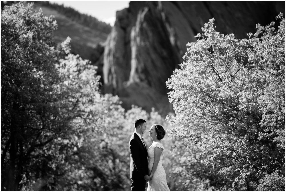 Bride and Groom at sunset in Colorado