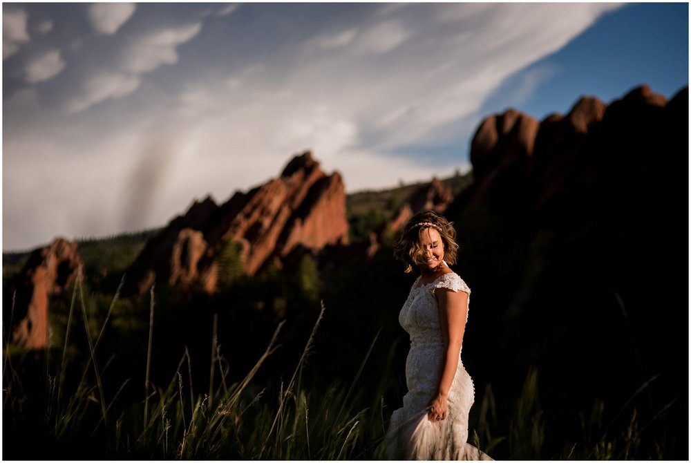 laughing bride with stormy skies