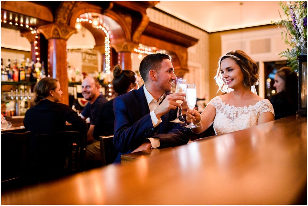 Bride and Groom toast at Colorado restaurant