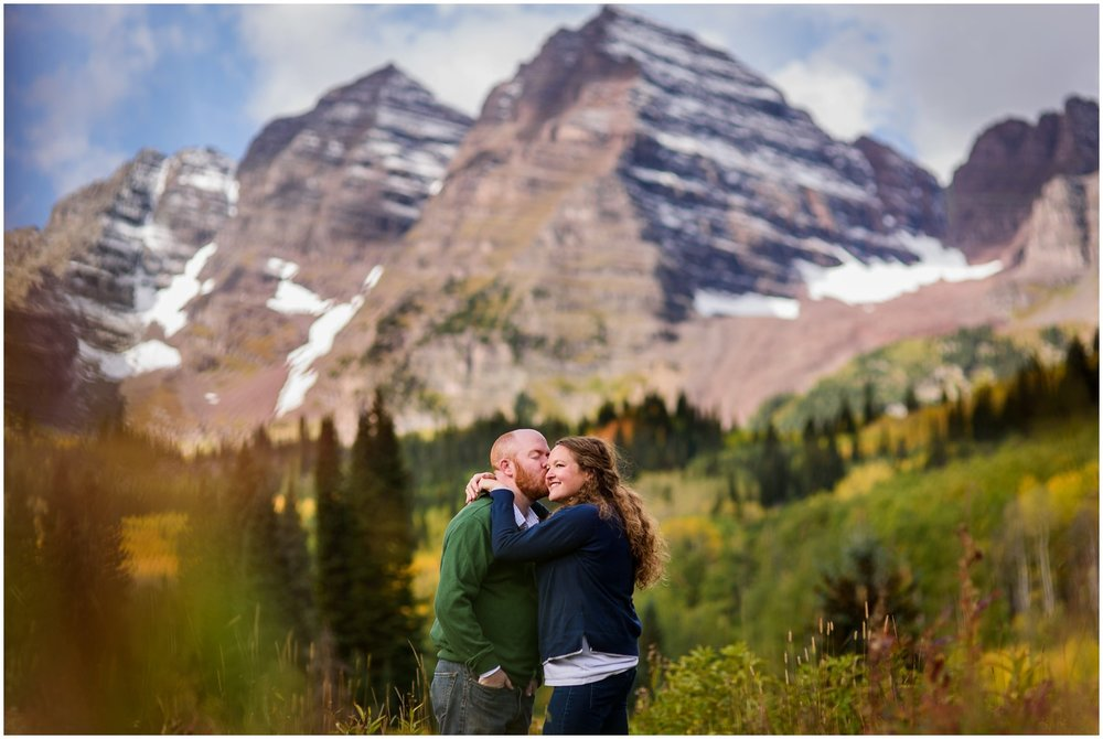 Fall Engagement photo at Maroon Bells