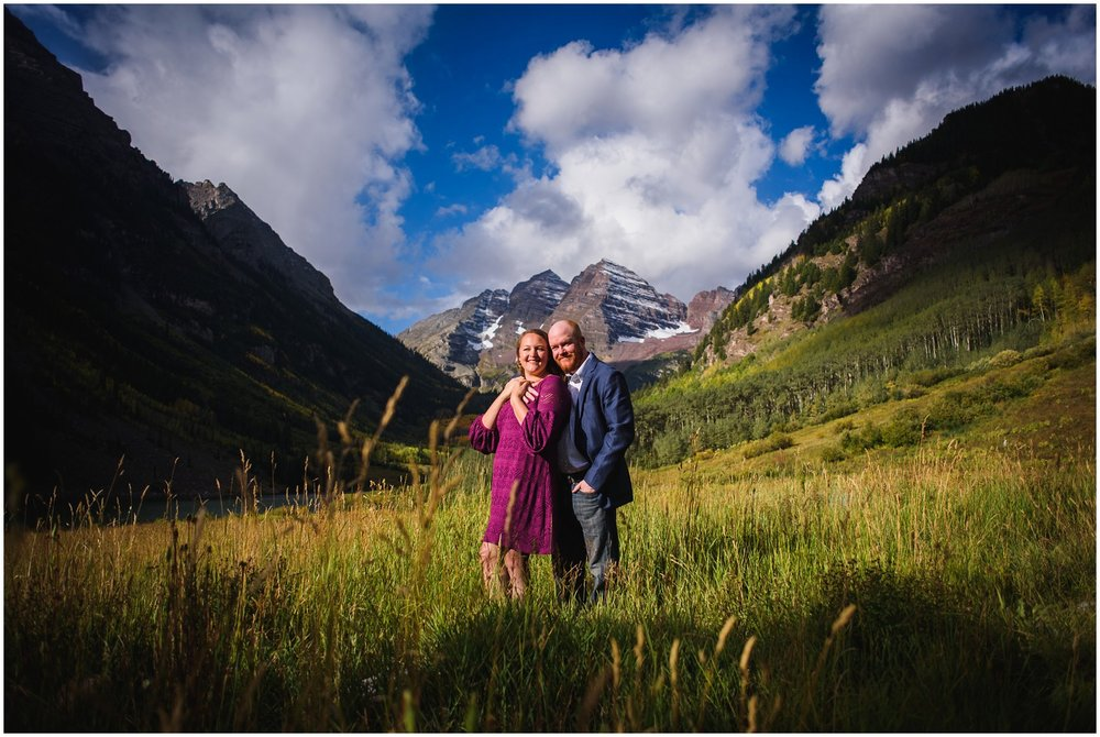 Engagement photo at Maroon Bells in Fall