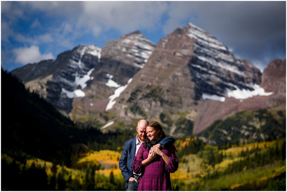 Engagement photo at Maroon Bells Lake