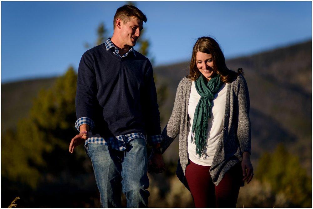 unposed engagement photo in Colorado