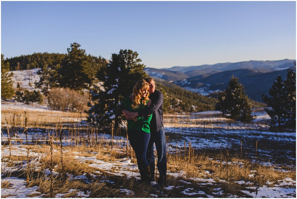 Colorado Mountain Winter sunset engagement photographer