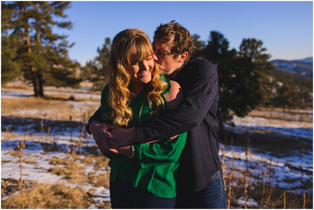 sunny winter engagement photo near Evergreen