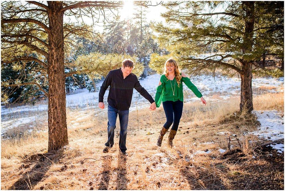 fun Colorado mountain engagement photographer