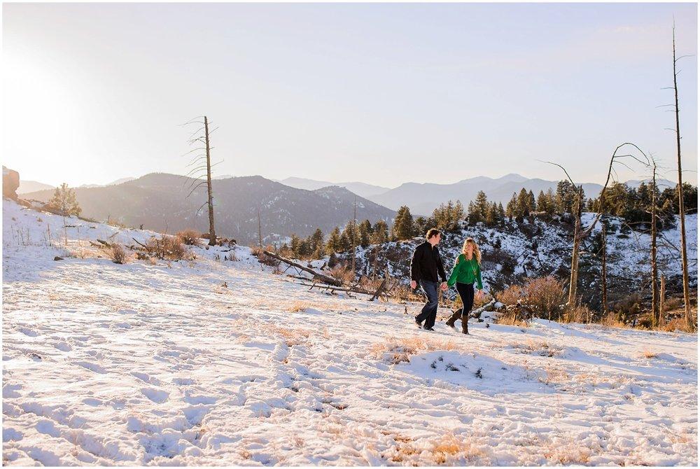 snowy mountain colorado engagement photo
