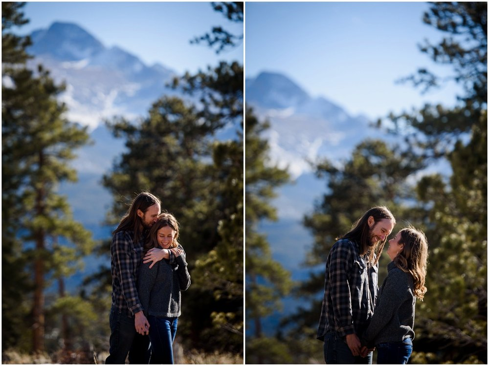 engagement photo with Longs Peak