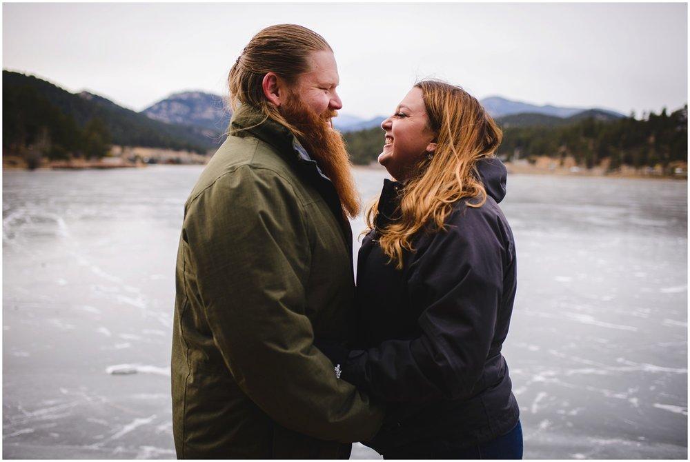 Engagement photo at Evergreen Lake