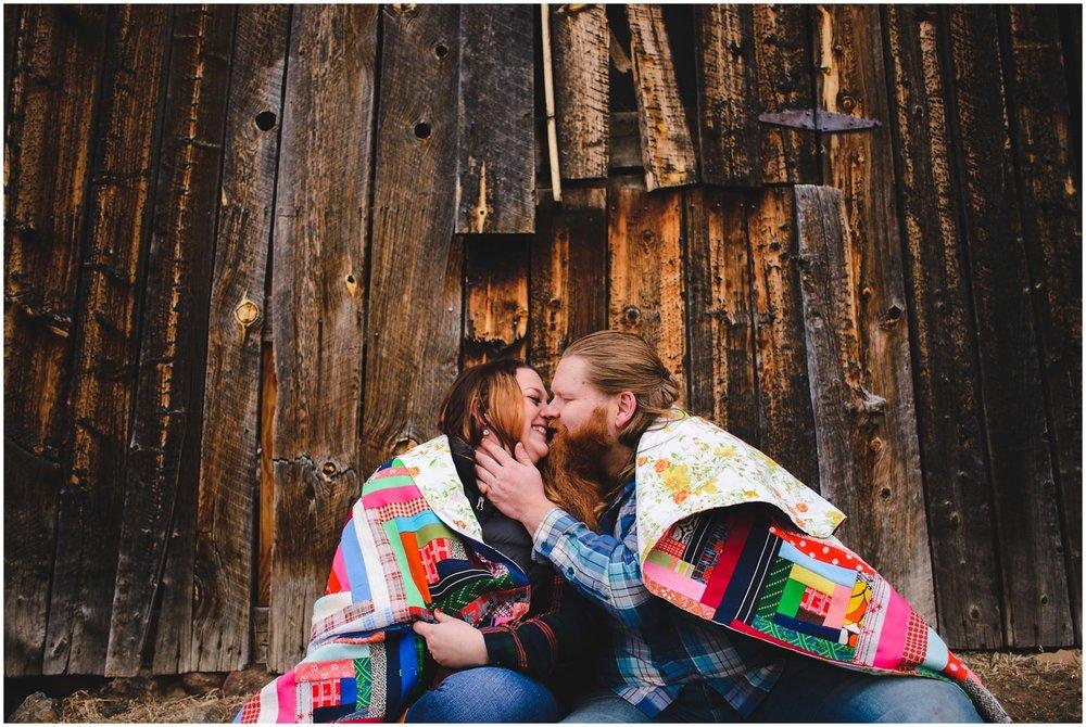 Evergreen barn engagement photo