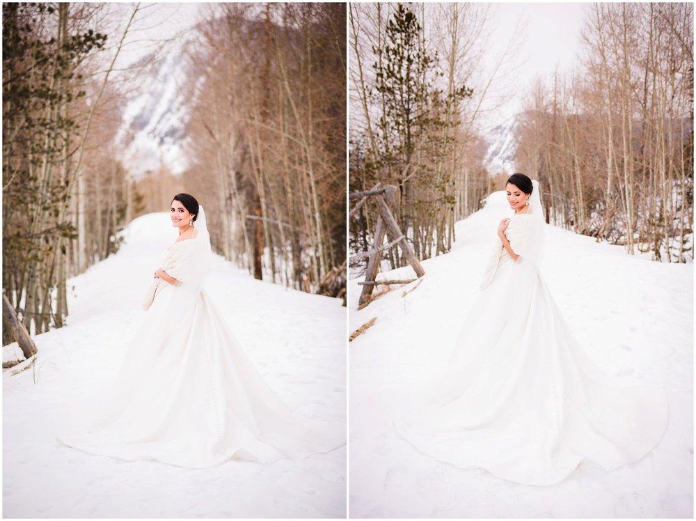 Bride in colorado Winter