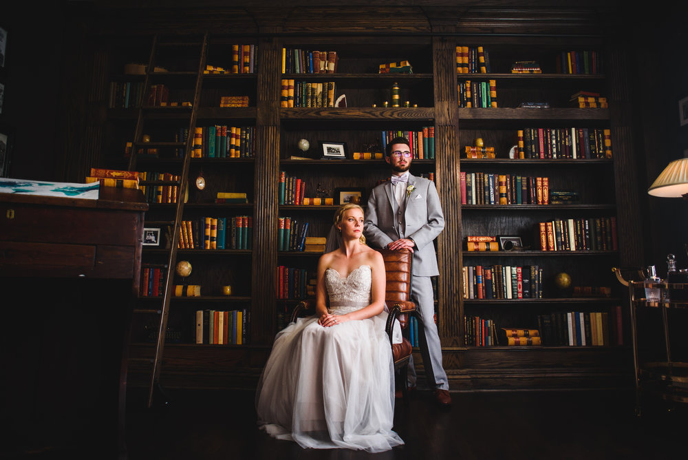 Wedding photo in Manor House library