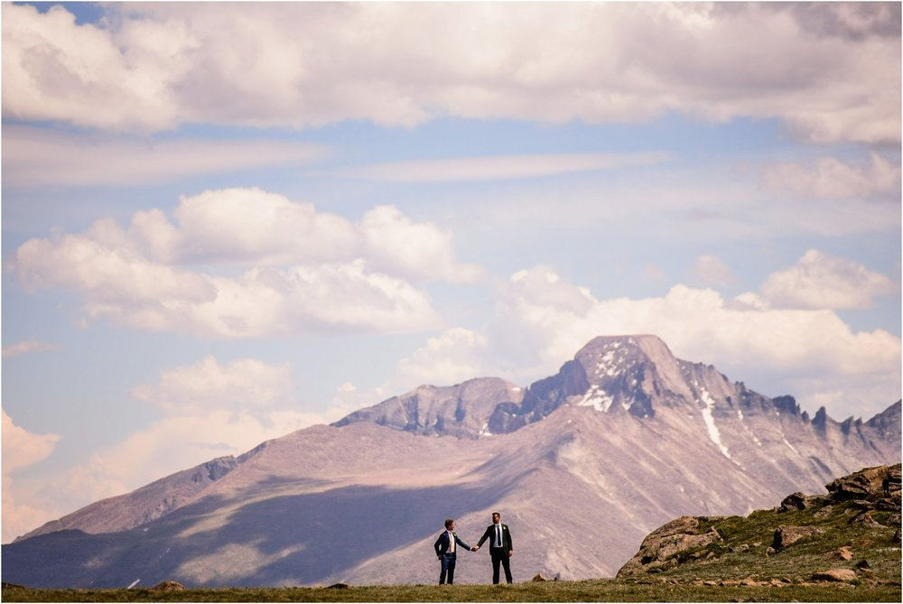 wedding photo with Longs Peak