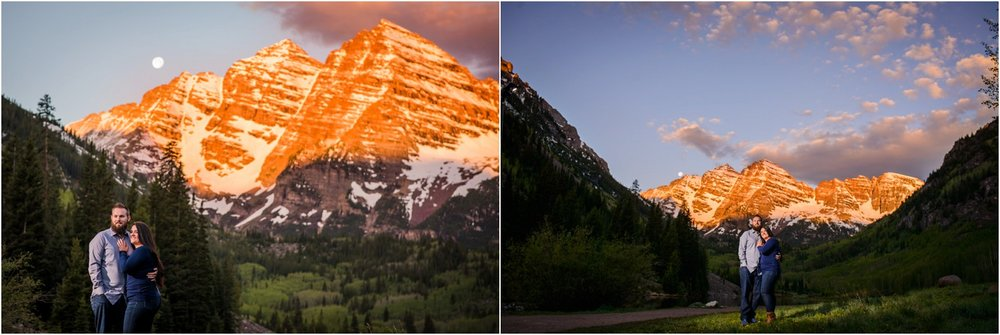 Alpenglow on Maroon Bells at Sunrise