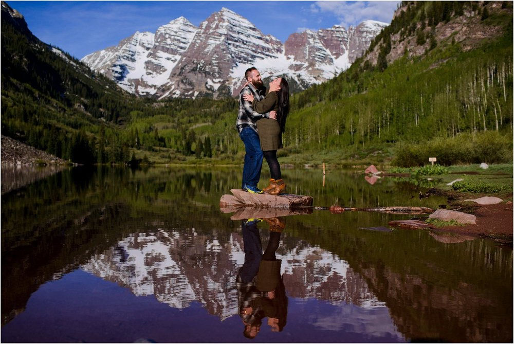 Engagement photo at Maroon Lake in Colorado