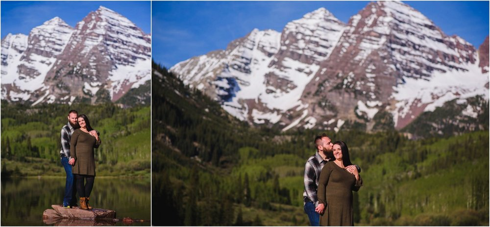 Colorado adventure engagement photo at Maroon Bells