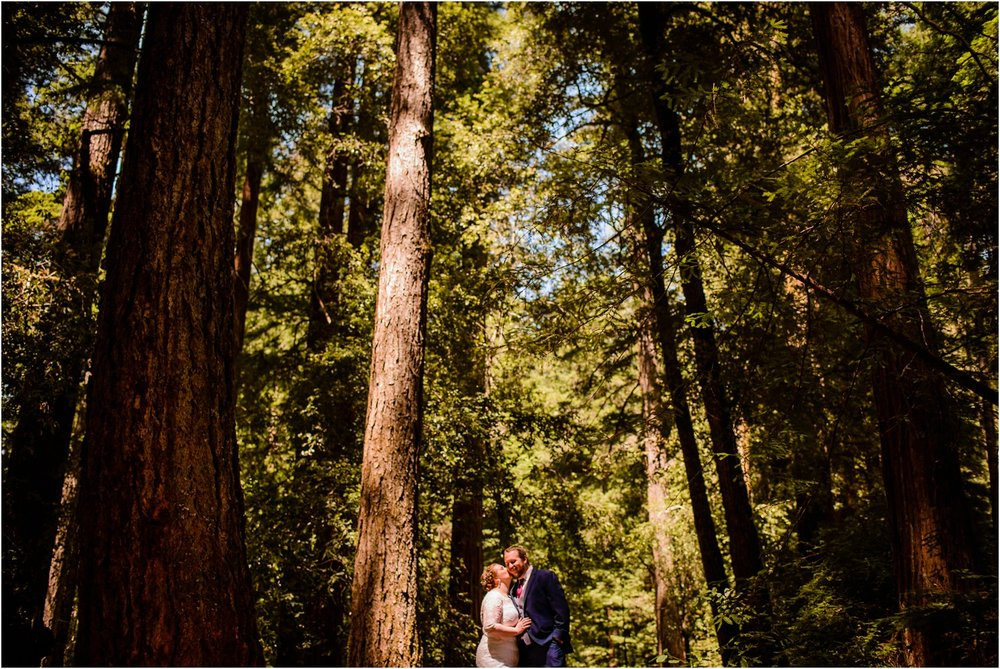 Bride and Groom kiss in California Redwood Forest