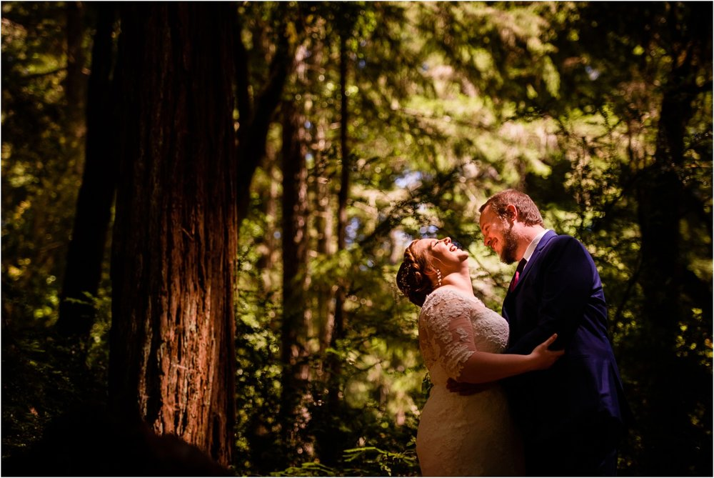 Bride laughs in sunny Redwood Forest photo