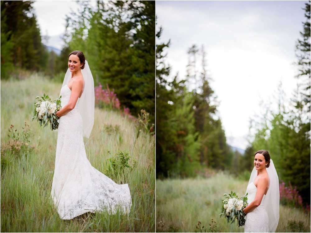Bridal portraits in Keystone colorado wedding