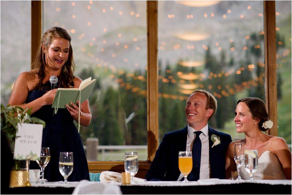 wedding toasts at Black mountain Lodge Colorado