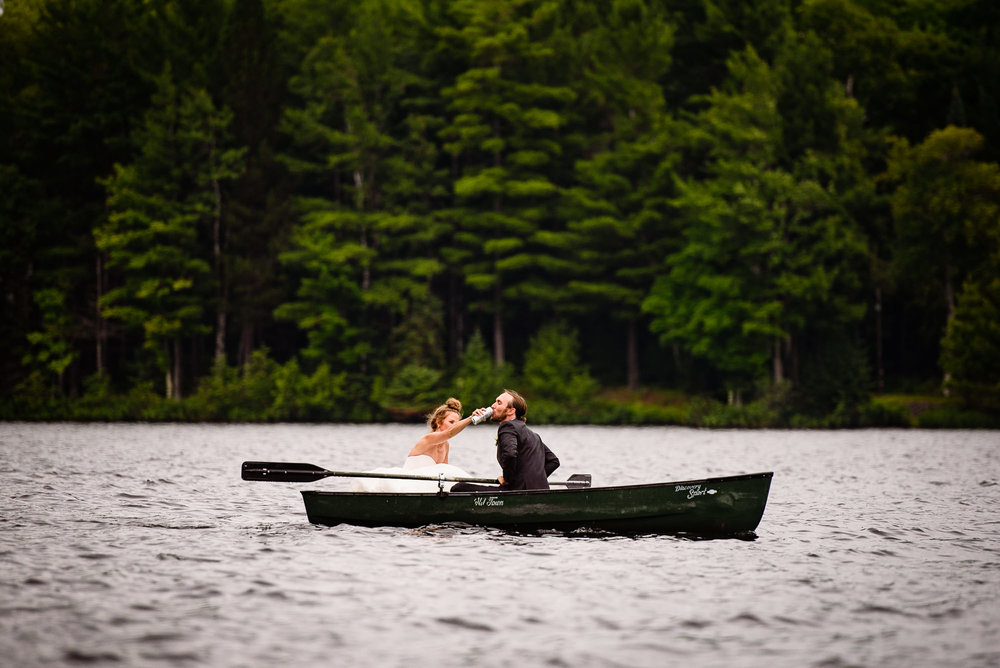 Bride and groom on Lake Canoe in Wisconsin wedding