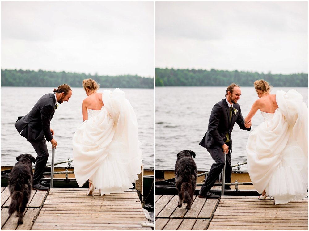 Bride and Groom get in Canoe after wedding