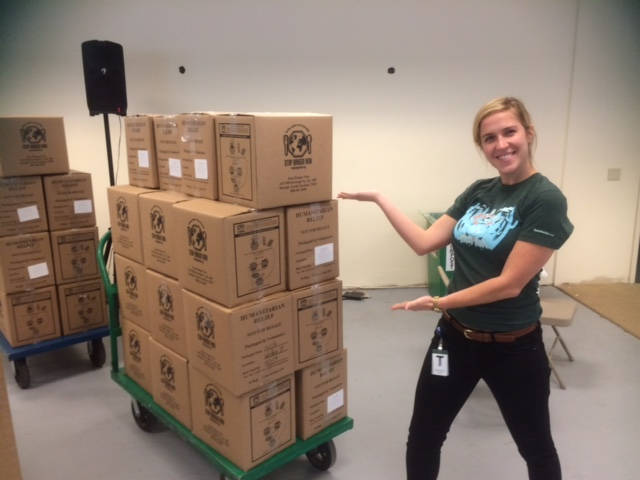 Anna at a Stop Hunger Now event to package food for those in need