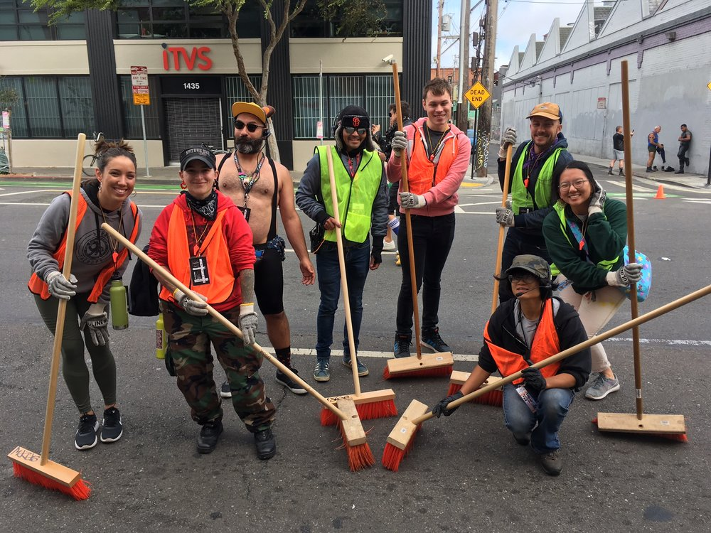 At Up Your Alley, the BFC was well represented in the Green Team because we are all about sustainable kink! CloCkwise from left: Sarah (IRC), Franzi (PCC), Green Team Leader, Daniel (GMHC/PCC), VIncent (PCC), Some Rando, Sally (CEC), and Karadi (Med)