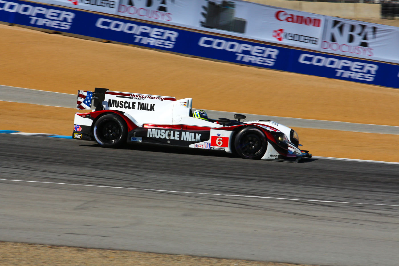© Mark Farouk Muscle Milk leading into Andretti hairpin at Laguna Seca, 2013