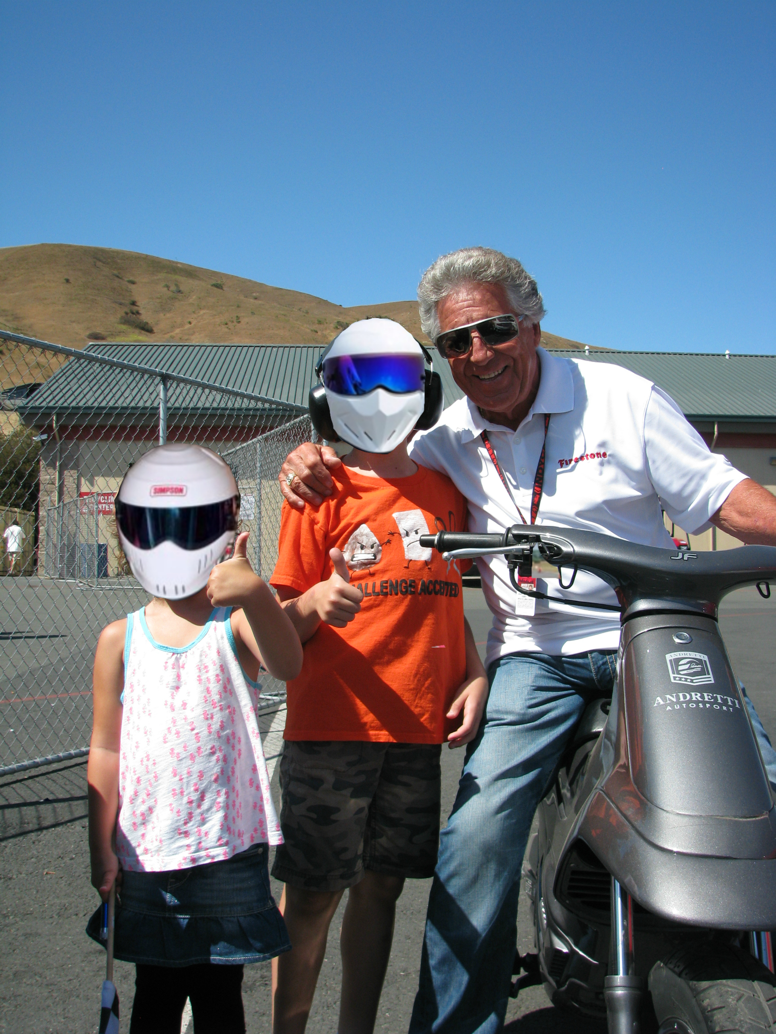 The kids with Mario Andretti