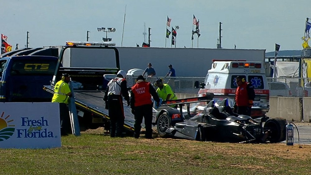 Alex Tagliani Involved in Massive Wreck - 12 Hours of Sebring - 2014 TUDOR Championship