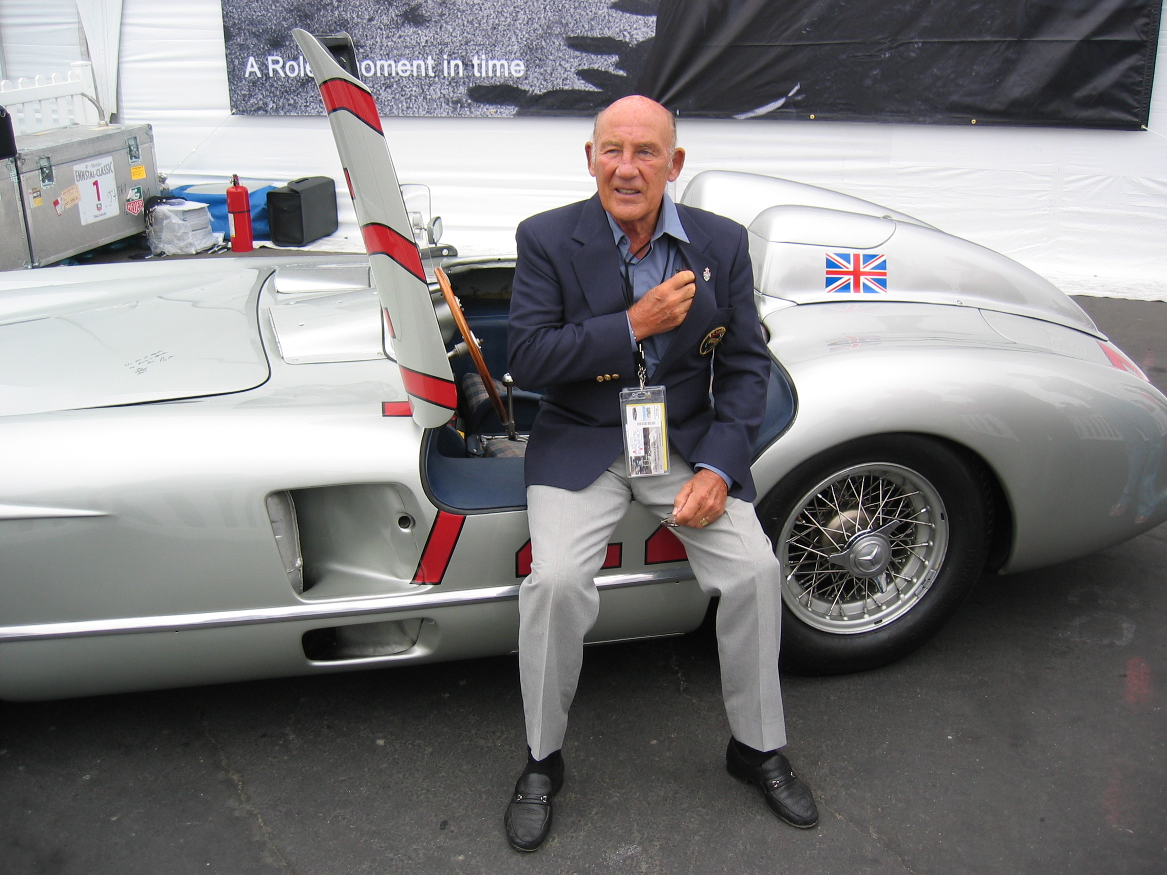 Sir Stirling Moss and the the iconic 1955 Mercedes Benz 300 SLR (W196S).