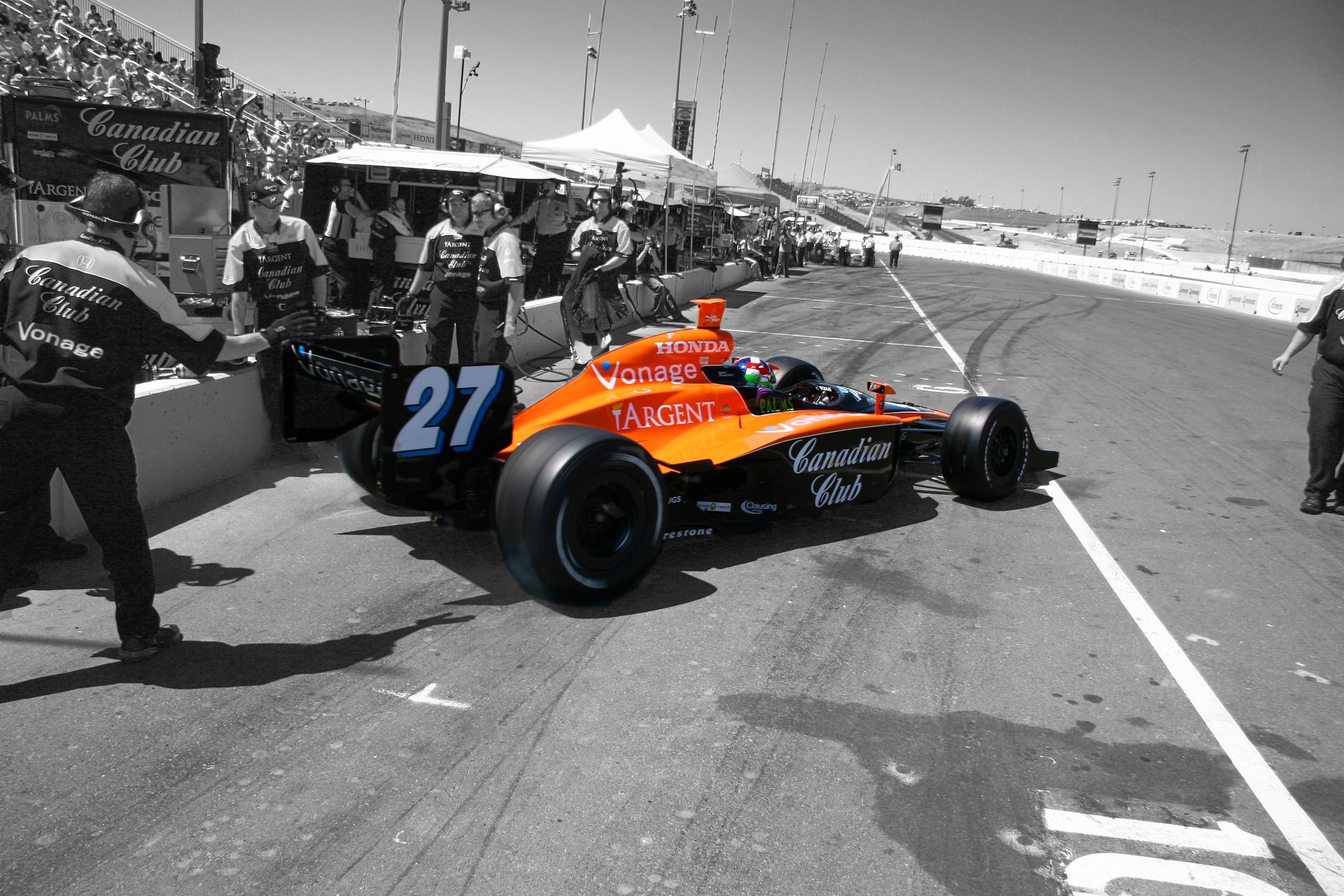 Dario Franchitti leaves the pits during qualifying for Sonoma Grand Prix in 2007. © Mark Farouk-2007