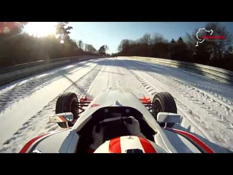 Single seater driven around Nurburgring Nordschleife in the snow!
