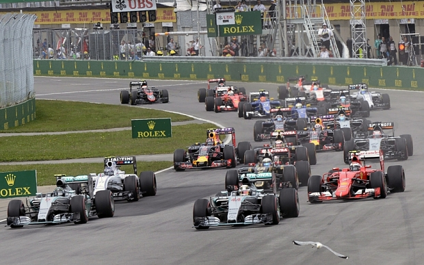 The start of the race and the last time the cars would be this close