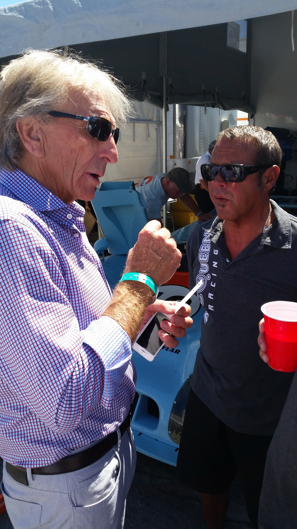 Derek Bell and Chad McQueen undoubtedly catching up on old times.