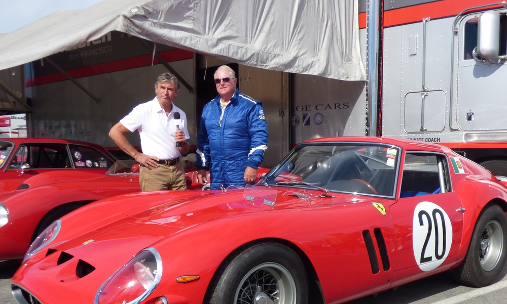 True racing renaissance man Alain de Cadenet does an interview in front of two cars worth more than a small counrty!