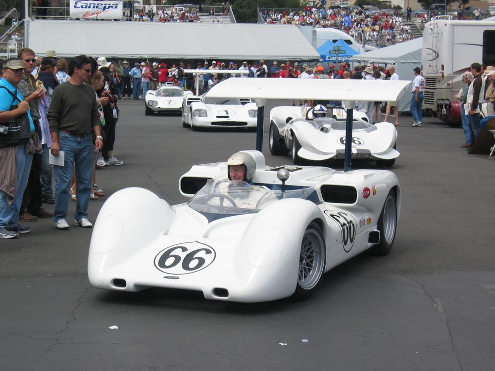 Jim Hall drives his Chaparral 2E