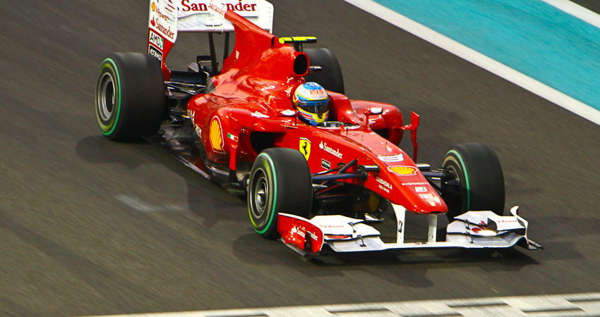 Alonso at the 2010 Abu Dhabi Grand Prix. He entered the last race of the season as a contender for the title.