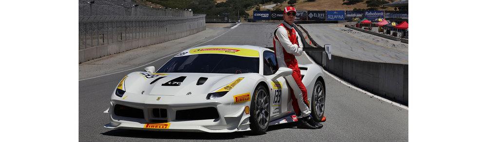 Fassbender with his car on the front straight of Mazda Raceway Laguna Seca. Photo credit: Ferrari North America