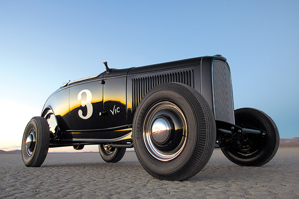 The Edelbrock Roadster.    The Edelbrock roadster continually set speed records at the dry lakes before and after World War II. Photo courtesy of Edelbrock.