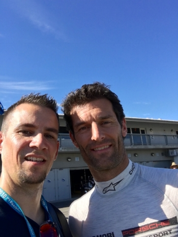 Me with my bro, former Formula 1 driver Mark Webber. Yes, when I take photos with drivers they become my bros.