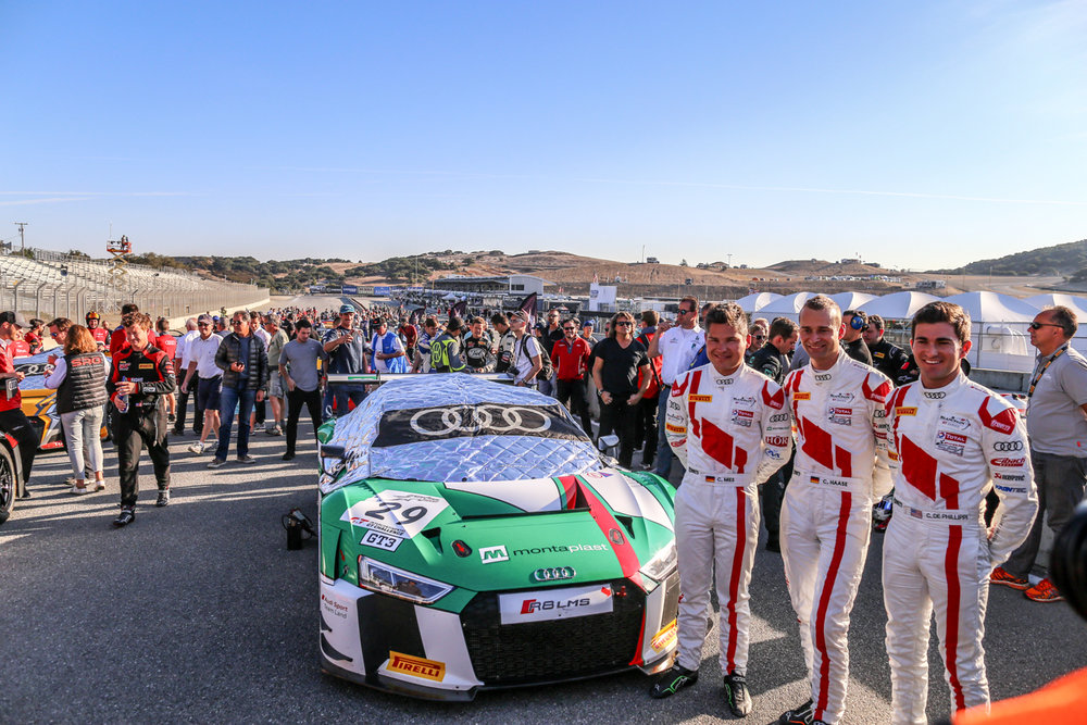 Audi Sport Team Land drivers (from left) Christopher Mies, Christopher Haase, and Connor de Philippie