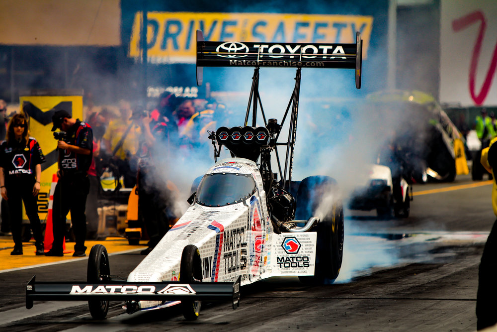 Antron Brown in the Matco Tools Toyota Top Fuel Dragster